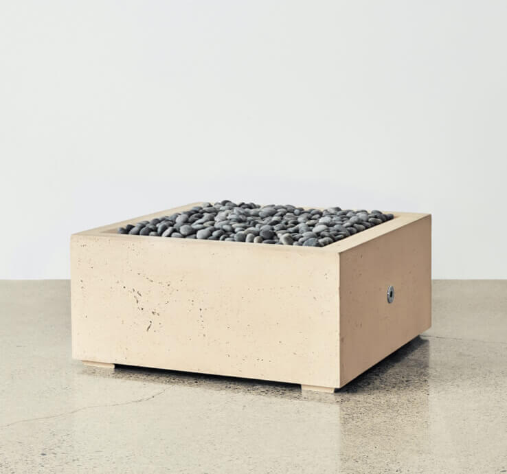 square fire pit taupe