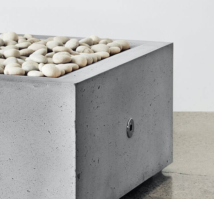 square fire pit grey