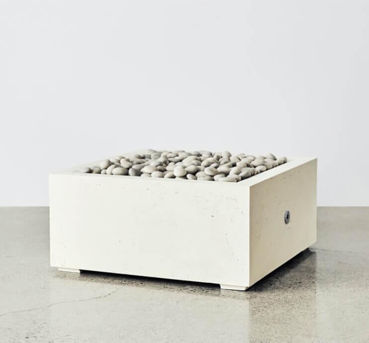 square fire pit white